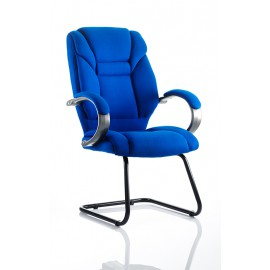 Galloway Visitor Cantilever Chair Blue Fabric With Arms