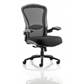 Houston Task Operator Chair Mesh Back Black Fabric Seat With Arms