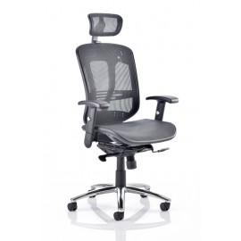 Mirage Executive Chair Black Mesh With Arms With Headrest
