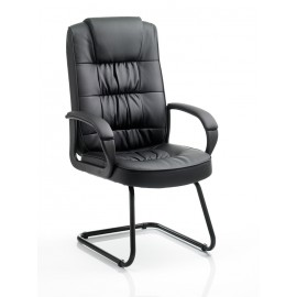 Moore Visitor Cantilever Black Leather With Arms