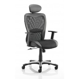 Victor Executive Chair Black Leather Black Mesh With Arms With Headrest