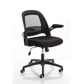 Eco Task Operator Mesh Black and Black Chair With Folding Arms