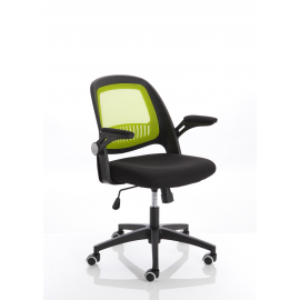 Eco Task Operator Mesh Black and Green Chair With Folding Arms