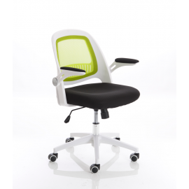 Eco Task Operator Mesh White and Green Chair With Folding Arms