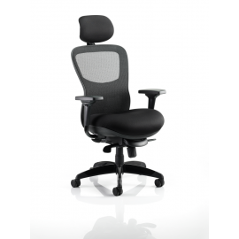 Stealth Ergo Posture Chair Black Airmesh Seat And Mesh Back With Arms With Headrest