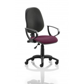 Eclipse I Lever Task Operator Chair Back Bespoke Seat With Loop Arms In Chilli