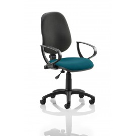 Eclipse I Lever Task Operator Chair Back Bespoke Seat With Loop Arms In Kingfisher