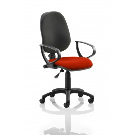 Eclipse I Lever Task Operator Chair Back Bespoke Seat With Loop Arms In Pimento