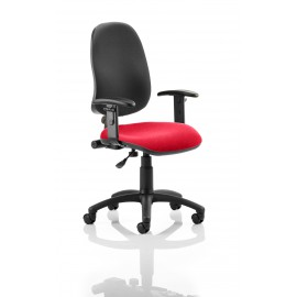 Eclipse I Lever Task Operator Chair Black Back Bespoke Seat With Height Adjustable Arms In Cherry