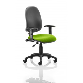 Eclipse I Lever Task Operator Chair Black Back Bespoke Seat With Height Adjustable Arms In