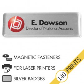 The Mighty Badge™ Corporate Pack [Silver] [Magnetic Fastener] for Laser Printers