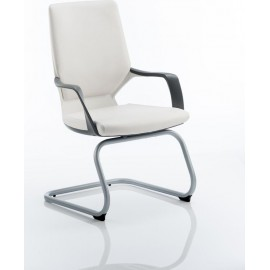Xenon Visitor Cantilever White Chair White Leather With Arms
