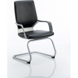 Xenon Visitor Cantilever White Chair Black Leather With Arms