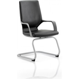 Xenon Visitor Cantilever Black Chair Black Leather With Arms