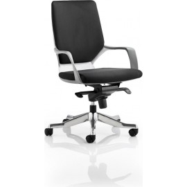 Xenon Executive White Chair Black Fabric Medium Back With Arms