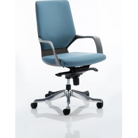 Xenon Executive Black Chair Blue Fabric Medium Back With Arms