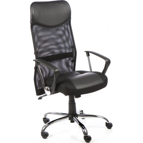 vegas executive chair black leather seat black mesh back with leather