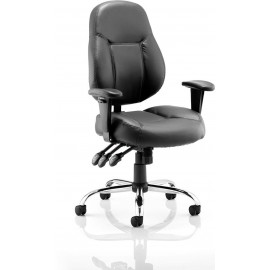 Storm Task Operator Chair Black Bonded Leather With Arms