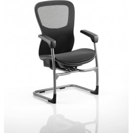 Stealth Shadow Ergo Posture Visitor Cantilever Chair Mesh Seat Mesh Back With Arms