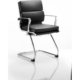 Savoy Visitor Cantilever Chair Black Bonded leather With Arms