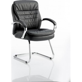 Rocky Visitor Cantilever Chair Black Leather High Back With Arms