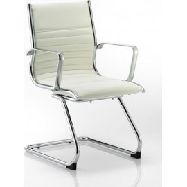 Ritz Visitor Cantilever Chair Ivory Bonded Leather With Arms