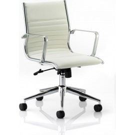 Ritz Executive Chair Ivory Bonded Leather Medium Back With Arms