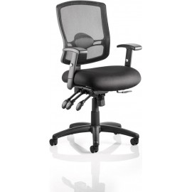 Portland III Task Operator Chair Black Mesh Back With Arms