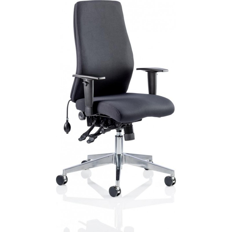 Onyx Ergo Posture Chair Black Fabric Without Headrest With Arms 3WM Direct