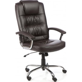 Moore Deluxe Executive Chair Brown Leather With Arms