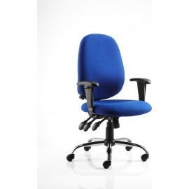 Lisbon Task Operator Chair Blue Fabric With Arms