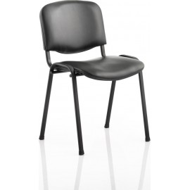 ISO Visitor Chair Black Vinyl Black Frame Without Arms