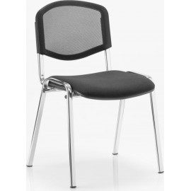 ISO Visitor Chair Black Mesh Chrome Frame Without Arms
