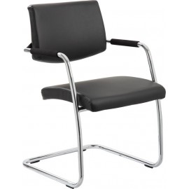 Havanna Visitor Chair Black Leather With Arms