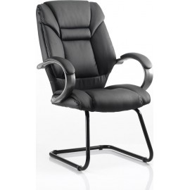 Galloway Visitor Cantilever Chair Black Leather With Arms