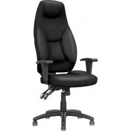 Galaxy Task Operator Chair Black Leather High Back With Arms