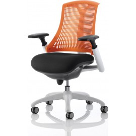 Flex Task Operator Chair White Frame Black Fabric Back With Orange Back With Arms