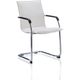 Echo Visitor Cantilever Chair White Bonded Leather With Arms