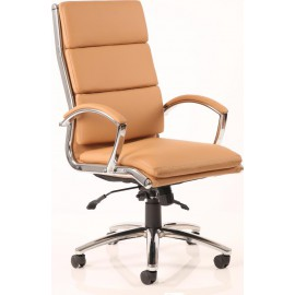 Classic Executive Chair Tan With Arms High Back