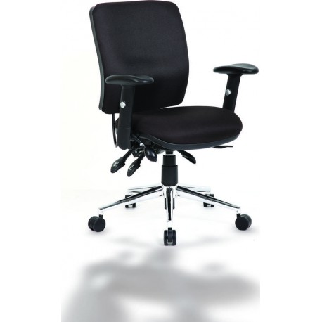 Chiro Task Operators Chair Black With Arms Medium Back 3WM Direct