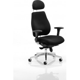 Chiro Plus Ergo Posture Chair Black With Arms With Headrest