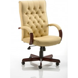 Chesterfield Executive Chair Cream Leather With Arms