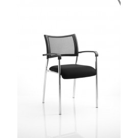 Brunswick Visitor Chair With Arms Chrome Frame