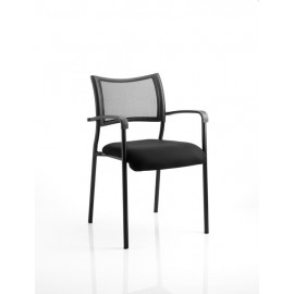Brunswick Visitor Chair With Arms Black Frame