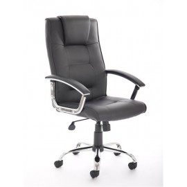 Thrift Executive Chair Black Leather With Arms
