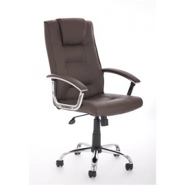 Thrift Executive Chair Brown Leather With Arms