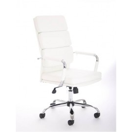 Advocate Executive Chair White Leather With Arms And High Back