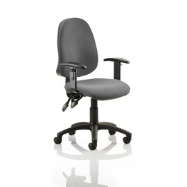 Eclipse II Lever Task Operator Chair Charcoal With Height Adjustable Arms