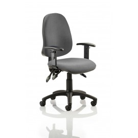 Eclipse III Lever Task Operator Chair Charcoal With Height Adjustable Arms