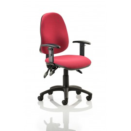 Eclipse III Lever Task Operator Chair Wine With Height Adjustable Arms